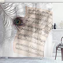 Ambesonne Peacock Decor Collection, Old Music Notes Sheet Texture with Peacock Feather Evil Eye on Antique Style Musical Theme, Polyester Fabric Bathroom Shower Curtain Set with Hooks, Beige