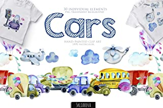 Cars watercolor clip art Watercolour toy car Individual element PNG Baby shower Boy Birthday card Cartoon Kids transport Bus Truck Airplane