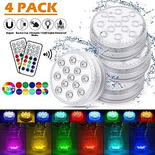 Piscina Luz LED Impermeables,Luces Sumergibles,Control Remoto Bajo El Agua Luces Multicolores LED Luz Sumergible para Acuario,Estanque,Bodas,Fiesta Jardín(4 PCS)