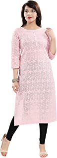 Chikankari Kurtis for Women Cotton Chikan Kari Kurta Kurti Indian Dress for Girls Ladies (QS_5555)