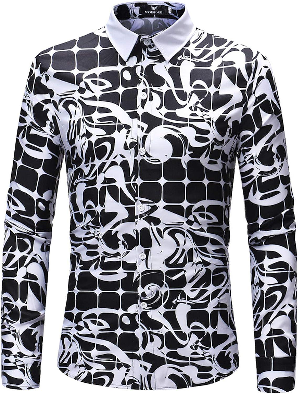 WCNMD Men's Fashion Long-Sleeved Shirts, mesh Printed Button-Down Shirts, Casual Shirt tops-C1-4X-Large