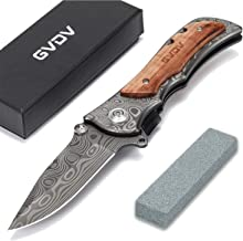 GVDV Pocket Folding Knife with Safety Liner-Lock , Tactical Knife for Camping Hunting Fishing, with Titanium Coated Blade,...