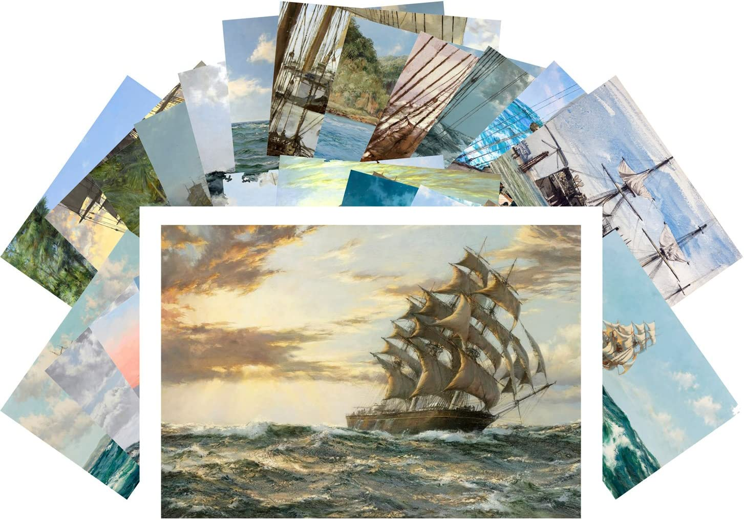 Postcard Pack 24pcs Sailships Max 58% OFF Ocean Vintage Painting Marine by M Luxury