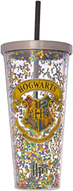 Spoontiques Hogwarts Glitter Cup w/Straw, 20 ounces, Multicolored
