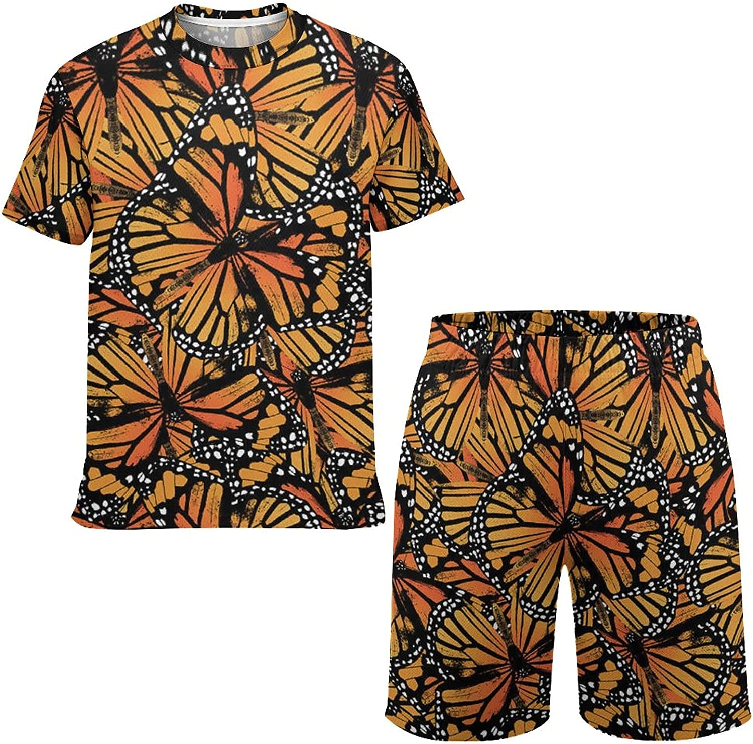 Orange Monarch Butterfly Youth Playwear Clothes Shirt and Shorts Summer Outfits for Boys Girls