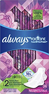 Always Radiant Feminine Pads for Women, Size 2, Heavy Flow Absorbency, with Flexfoam