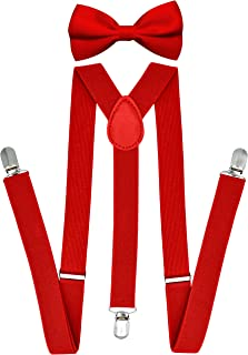 Suspenders for Men with bowtie set - Boys Women Adults - Adjustable Elastic Y Back Style Suspender Bow Tie