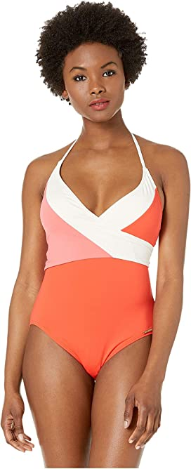 cd17f4c8a4886 Color Block Wrap Tie One-Piece with Removable Soft Cups