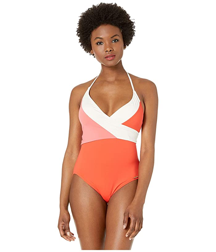 Vince Camuto Color Block Wrap Tie One-Piece with Removable Soft Cups (Koi) Women