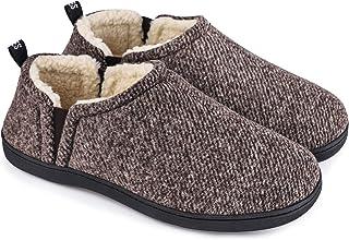 Men`s Fuzzy Wool Felt Memory Foam Slippers with Dual Side Elastic Gores