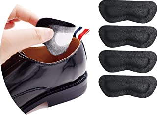 Premium Leather Heel Pads Grips Liners Inserts for Shoes Too Big,Unisex Prevent blisters,Shoe Filler Improved Shoe Fit and Comfort, 2 Pair Black(0.35inch Thicker)