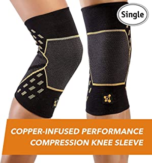 CopperJoint Performance Compression Knee Sleeve - Copper-Infused, Promotes Increased Blood Flow to The Knee, Provides Enhanced Compression and Support for Athletes - Single