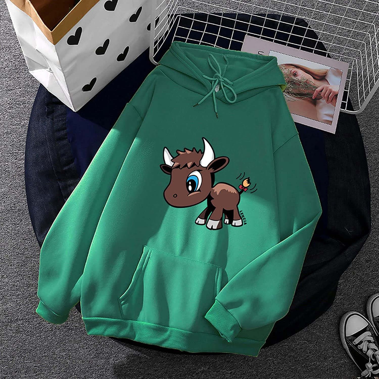 Women's Plus Size Hoodie Long Sleeve Pullover Cowl Neck Tops Sporty Sweatshirts with Pocket Drawstring