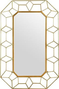Amazon Brand – Stone & Beam Diamond Shape Metal Frame Hanging Decorative Wall Mirror, 34.25 Inch Height, Gold Finish