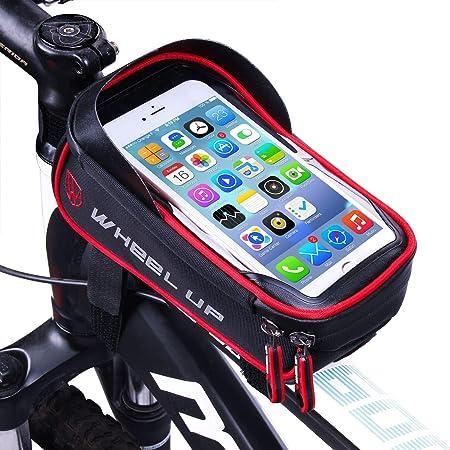 Borse Biciclette Supporto Bici MTB BMX Borsa da Manubrio per Biciclette Accessori Bici LIDIWEE Borsa Telaio Bici Wheel Up 6 inch Porta Cellulare Bici