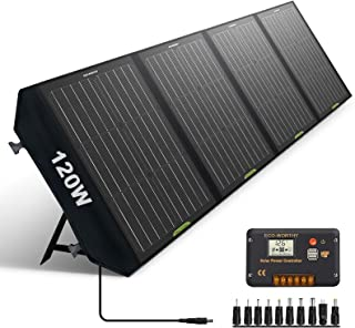 ECO-WORTHY 120 Watts Foldable Solar Panel Battery Charger Kit with 20A Charge Controller for Power Station, Phone, Camera,...