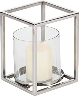 Deco 79 90932 Stainless Steel and Glass Hurricane Candle Holder, 8