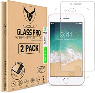 """ISOUL [2 Pack] Screen Protector for Apple iPhone 8 Plus 7 Plus Tempered Glass Film 9h HD, Premium Accessories 0.26mm Shatterproof Protection 5.5"""" Inch [Easy Installation] [3D Touch] [Ultra Strong]"""