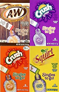 A&W Root Beer, Grape Crush, Orange Crush & Squirt Singles To Go Drink Mix 4-Variety Combo (Pack of 12)