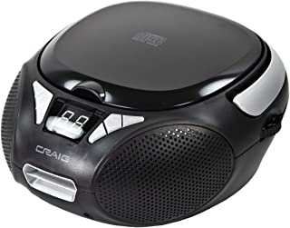 Craig CD6925 Portable Top-Loading Stereo CD Boombox with AM/FM Stereo Radio in Black   LED Display   Programmable CD Playe...