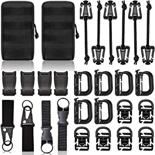 Molle Backpack Attachments Kit of 28 Accessories, D-Ring Grimloc Locking Gear Clip Web Dominator Elastic Strings Strap