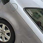 Audi 6623 Original Q2 Emblem Aufkleber Ringe Dekorfolie Für Die C Säule C Blade Farbe Florettsilber Auto