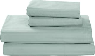 Stone & Beam 100% Cotton Dobby Stripe Sateen Bed Sheet Set, Queen, Oasis