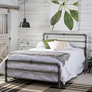 Home Collection Modern Industrial Metal Pipe Bed Frame with Headboard & Footboard Brushed Silver Finish King Size