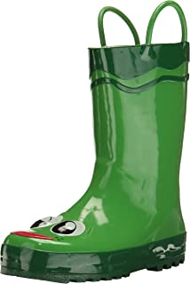 Western Chief Boys Waterproof Printed Rain Boot with Easy Pull On Handles, Fritz the Frog, 8 M US Toddler