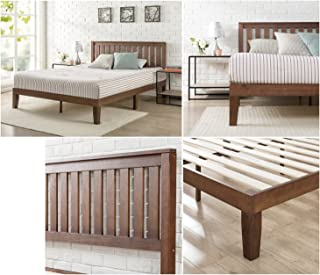 Zinus 12 Inch Solid Wood Platform Bed with Headboard / No Box Spring Needed / Wood Slat Support / Antique Espresso Finish, King