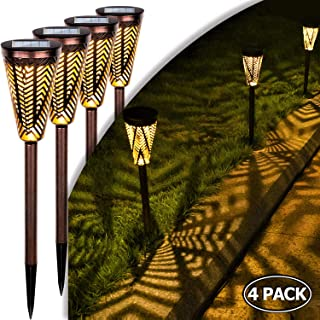 LeiDrail Outdoor Pathway Lights Solar Powered Garden Path Light Decorative Warm White LED Metal Stake Landscape Lighting Waterproof for Yard Patio Walkway Lawn In-Ground Spike - 4 Pack