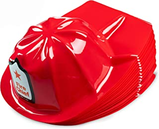 Firefighter Party Hats, (Pack Of 24) Child Size, Fire Chief, Bright Red, Plastic Hats, For Kids Dress Up, Birthday Party'...