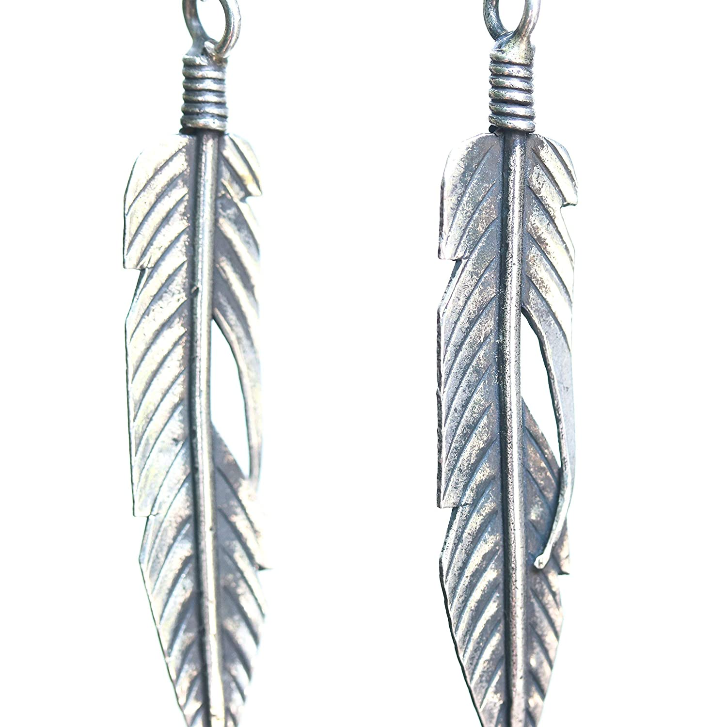 Sterling silver leaf earrings with on sterling p Sales Max 75% OFF for sale oxidized