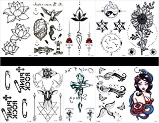 GGSELL GGSELL 10pcs tattoo peacock temporary tattoos in one packages,including lotus,sea horse,fish,flower jewelry,totem,sunflower,paper clip,deer,cross,peacock,women,etc.