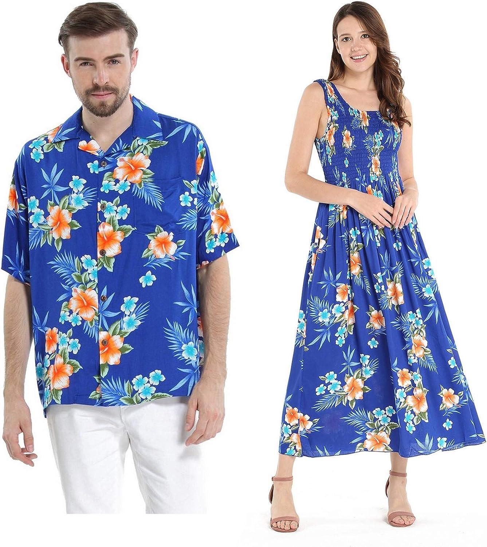 Couple Matching Hawaiian Luau Aloha Shirt Maxi Tank Dress in Hibiscus