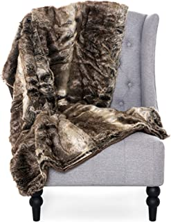 Best Choice Products 47x80in Faux Fur Throw Lounge Blanket for Living Room Couch, Bedroom, Brown