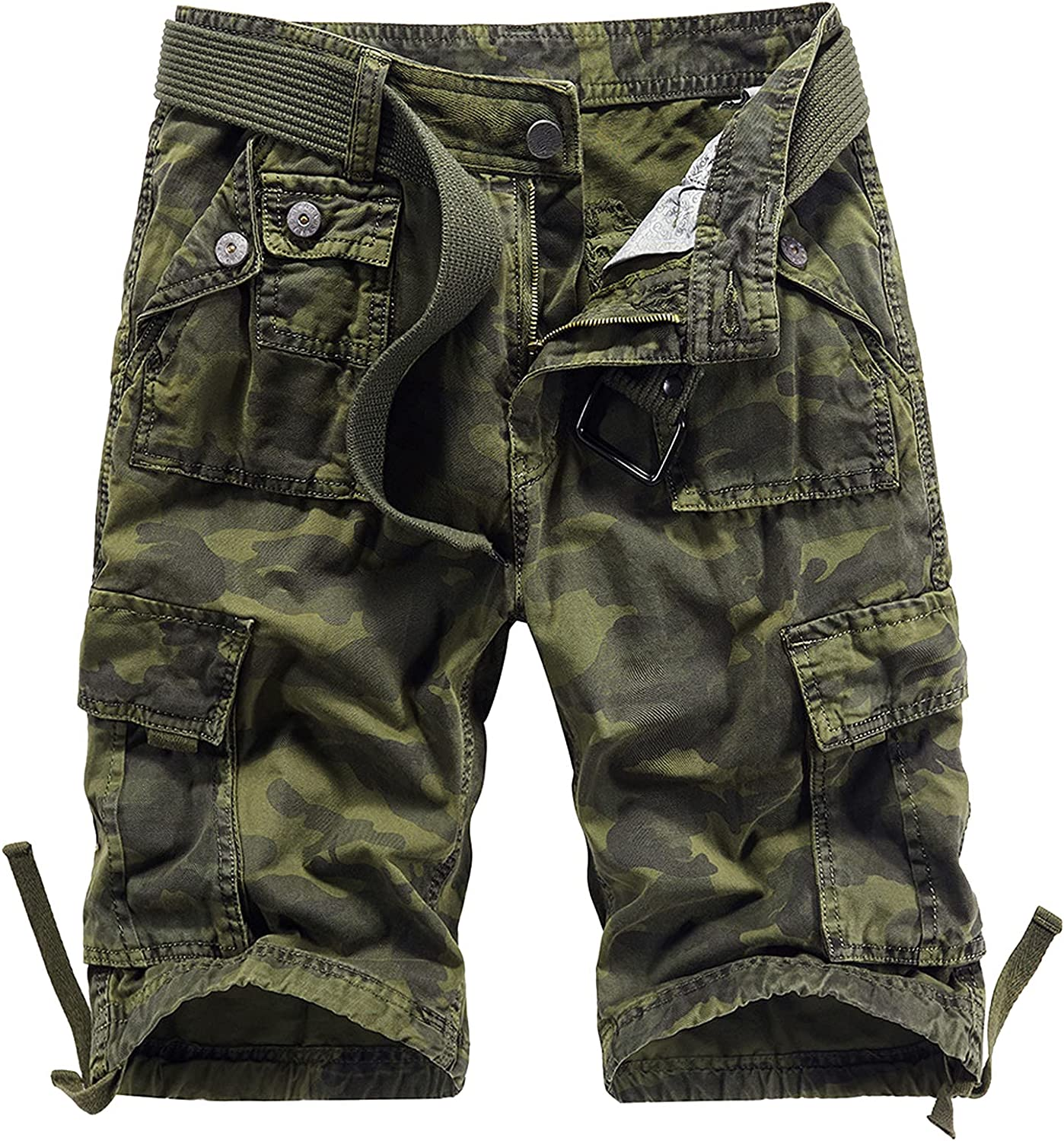 B dressy Men Summer Casual Loose Camouflage Cargo Shorts Multi-Pocket 100% Cotton Street Military Knee-Length Beach-Green Camouflage-32