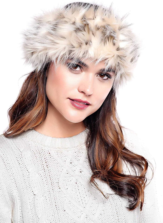 Arctic Leopard Faux Fur Halo Headband