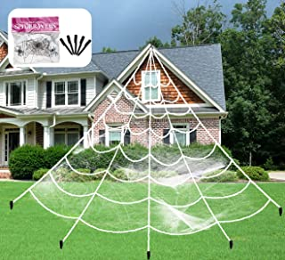 Aiduy Outdoor Halloween Decorations Scary Giant Spider Web Decorations Creepy Decor with Super Stretch Cobweb Set for Halloween Yard Decorations, 16 Ft