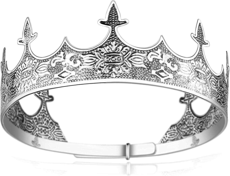 Coucoland Corona de reina para hombre, estilo antiguo, plateada, corona de cumpleaños, tiara para baile de graduación, decoración para hombre, Halloween, carnaval
