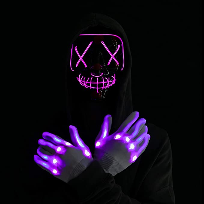 Halloween Led Mask Light Up Scary Mask and Gloves with 3 Lighting Modes for Halloween Cosplay Costume and Party Supplies