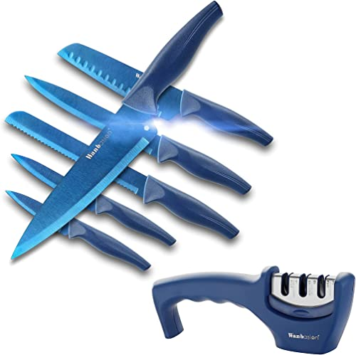 high quality Wanbasion Blue 7 pieces wholesale Professional Kitchen Knife Chef Set, online Kitchen Knife Set Stainless Steel, Kitchen Knife Sharpener Manual Sharpening online