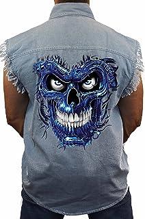 SHORE TRENDZ Mens Mechanic Work Shirt Blue Robotic Skull