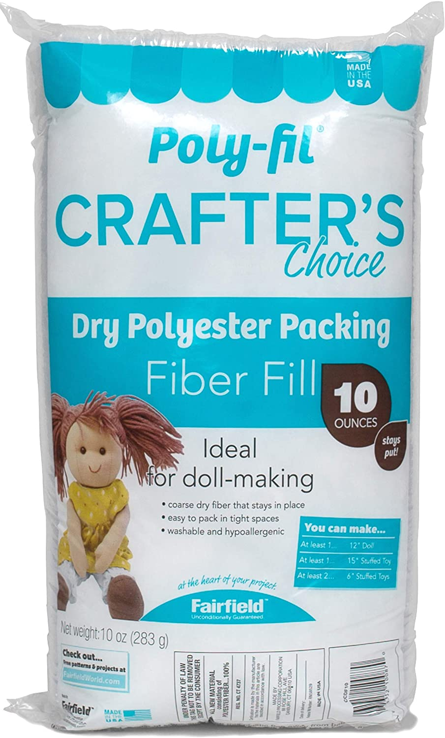 free Fairfield CCDF10 Poly-Fil Crafter's Choice Fiber Packing Attention brand Fil Dry