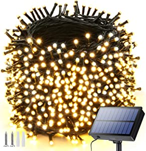 Solar String Lights Outdoor, 121ft 350 LED Solar Fairy Lights Outdoor with 8 Modes, Waterproof Outdoor String Lights for Garden, Yard, Party, Patio, Bedroom, Wedding, Holiday Decorations(Warm White)