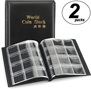 CenterZ 2 Pack of 120 Pockets Coin Album, Souvenir Penny Book, Coins Collection Holder, Ideal for Pennies Collecting Passport, Hobby Coin Collector, Money Specie Display Storage Case (Black)