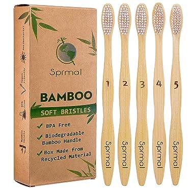 5pcs Sprmal Bamboo Toothbrushes Natural Organic Biodegradable and Vegan Bamboo Soft BPA Free Nylon Bristles for Sensitive Gums