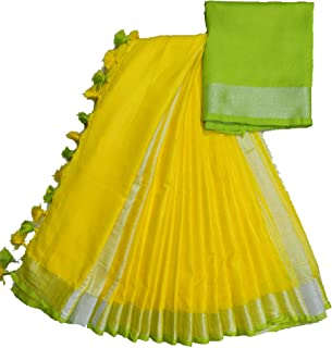 SILK CITY SHG Women's Linen Slub Attractive Saree with Contrast Blouse (Yellow Parrot Green)
