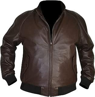 SouthBeachLeather World War One Aviator Flight Aviation Dark Brown Rib Leather Jacket