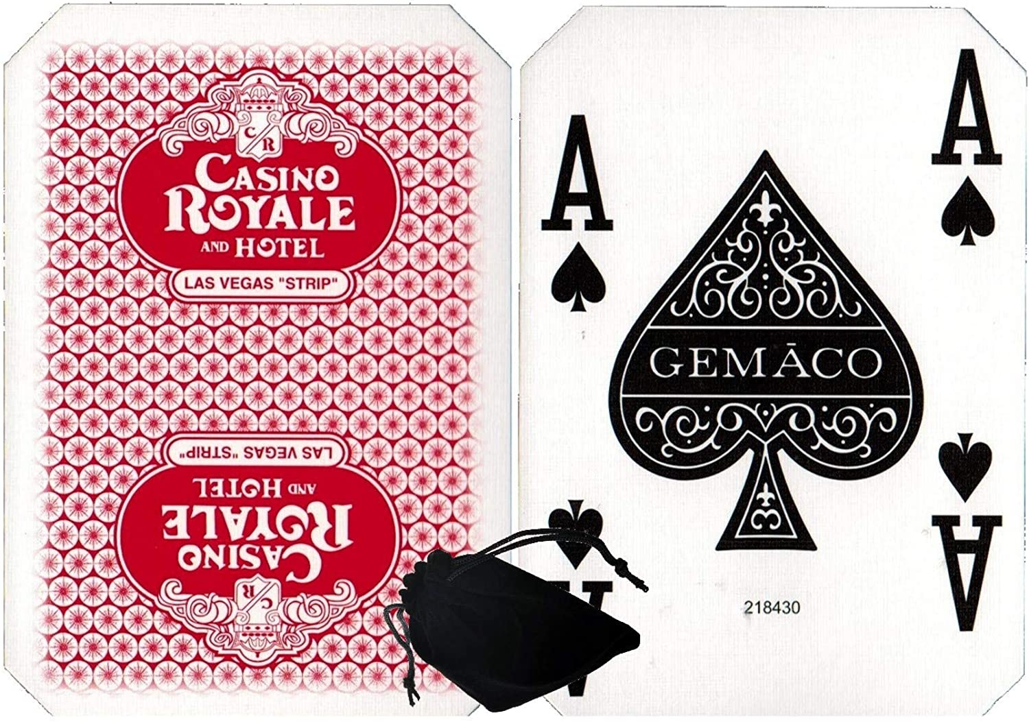 CyberDeals Wide Selection of Las Vegas Strip Casino TablePlayed Authentic Playing Card Decks with Black Velvet Cloth Pouch Bag